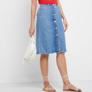 MANGO MNG Button-Down Denim Midi Skirt NWOT!